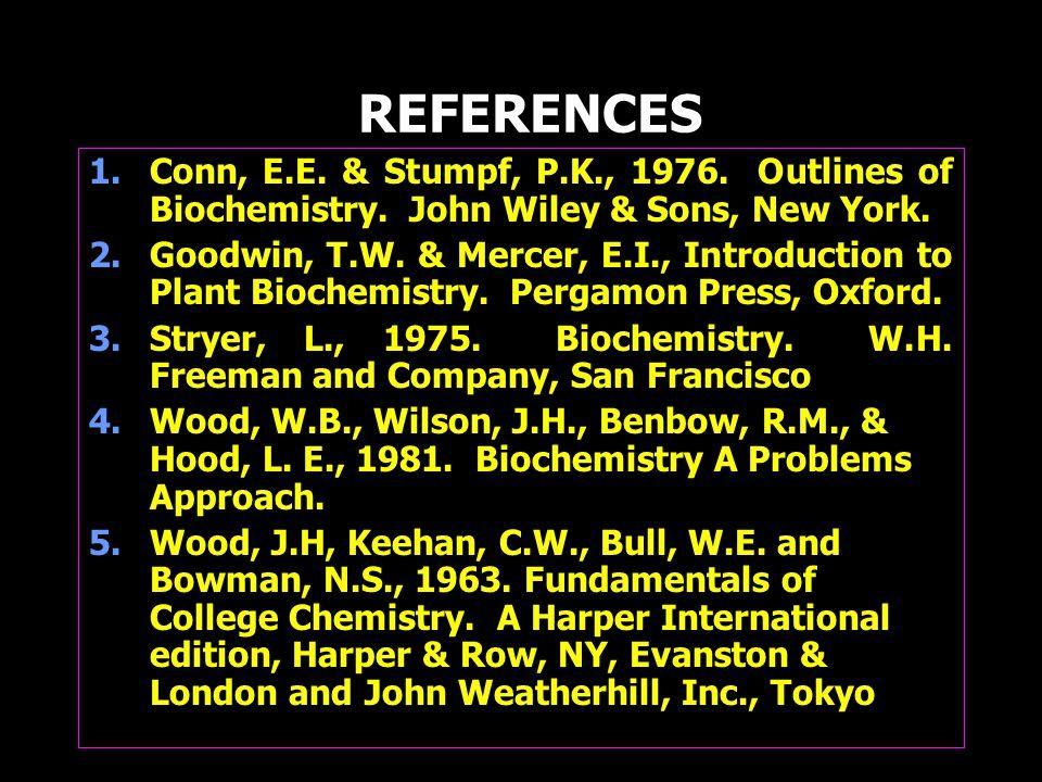 REFERENCES 1.Conn, E.E. & Stumpf, P.K., 1976. Outlines of Biochemistry.