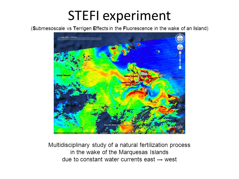 STEFI experiment (Submesoscale vs Terrigen Effects in the Fluorescence in the wake of an Island) Multidisciplinary study of a natural fertilization process in the wake of the Marquesas Islands due to constant water currents east → west