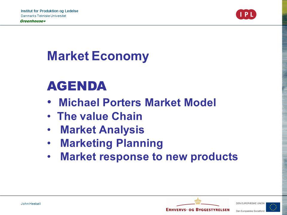 Institut for Produktion og Ledelse Danmarks Tekniske Universitet John Heebøll Greenhouse+ Market Economy AGENDA Michael Porters Market Model The value Chain Market Analysis Marketing Planning Market response to new products