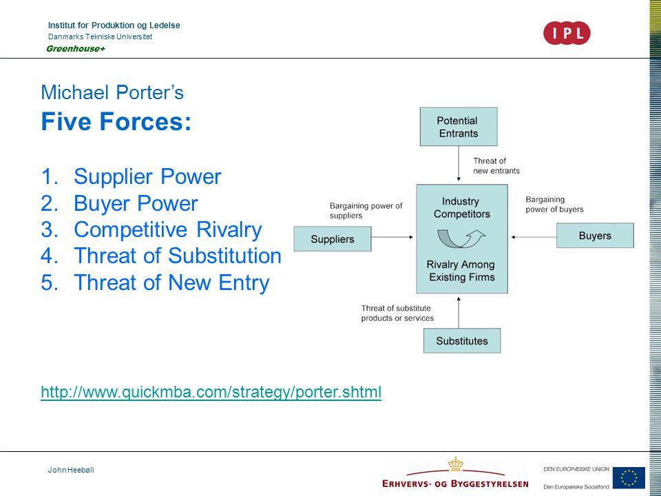 Institut for Produktion og Ledelse Danmarks Tekniske Universitet John Heebøll Greenhouse+ Michael Porter's Five Forces: 1.Supplier Power 2.Buyer Power 3.Competitive Rivalry 4.Threat of Substitution 5.Threat of New Entry http://www.quickmba.com/strategy/porter.shtml