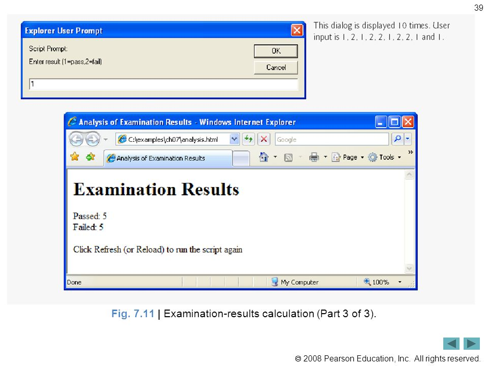  2008 Pearson Education, Inc. All rights reserved. 39 Fig. 7.11 | Examination-results calculation (Part 3 of 3).
