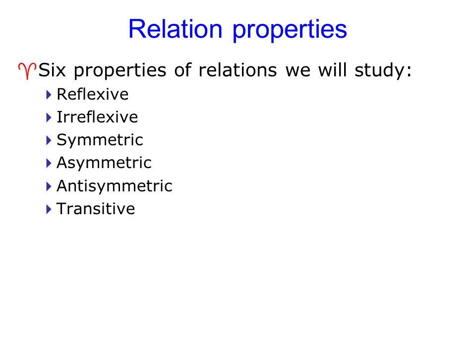 Relation properties ^Six properties of relations we will study:  Reflexive  Irreflexive  Symmetric  Asymmetric  Antisymmetric  Transitive