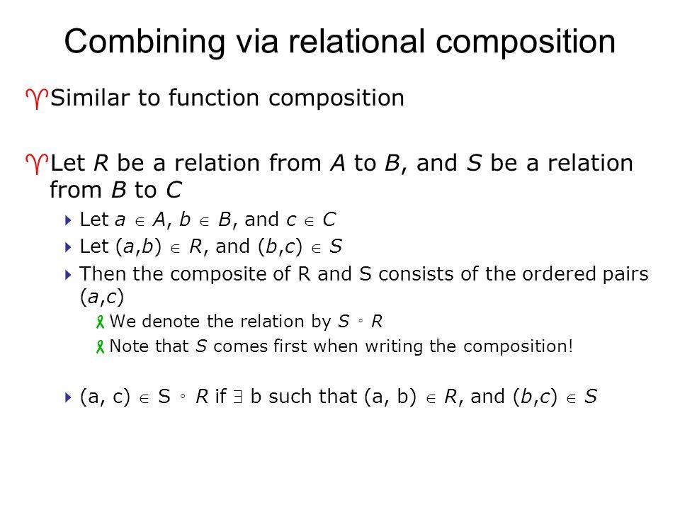 Combining via relational composition ^Similar to function composition ^Let R be a relation from A to B, and S be a relation from B to C  Let a  A, b