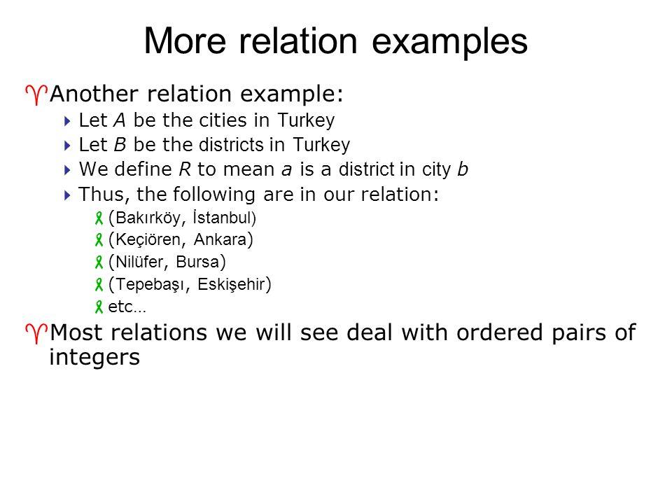 Representing relations BİM111 BİM122 BİM124 Ayşe Barış Canan Davut BİM111BİM122BİM124 A yşe X B arış XX C anan Da vut XX We can represent relations graphically: We can represent relations in a table: Not valid functions!