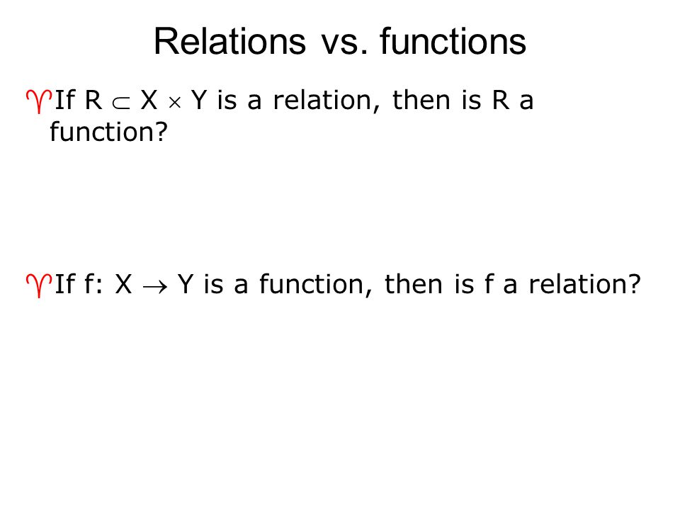 Relations on a set ^A relation on the set A is a relation from A to A  In other words, the domain and co-domain are the same set  We will generally be studying relations of this type