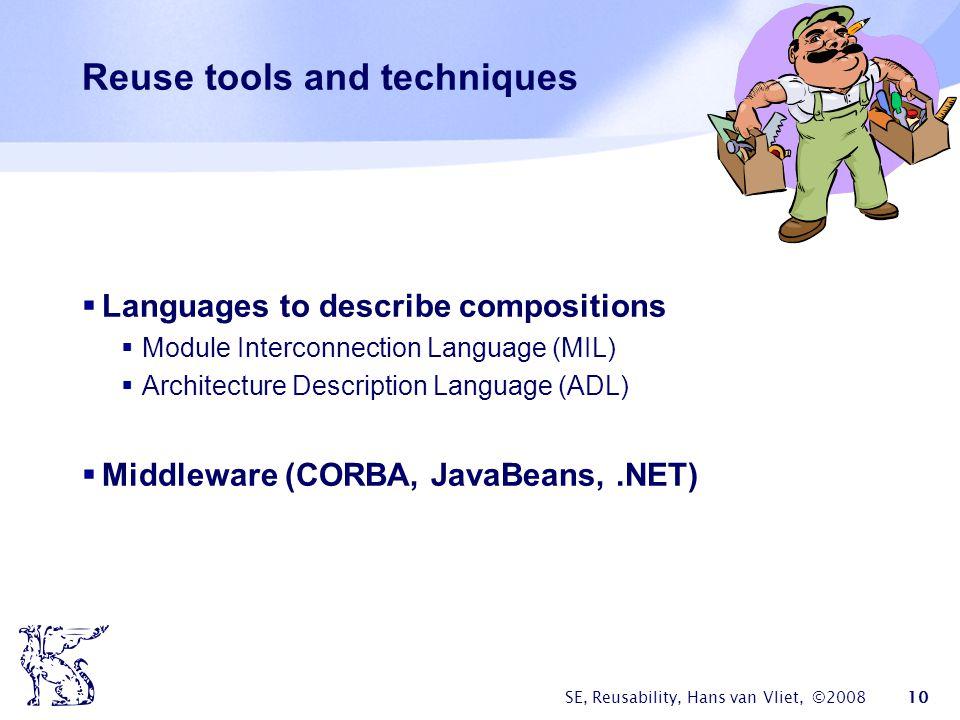 SE, Reusability, Hans van Vliet, ©2008 10 Reuse tools and techniques  Languages to describe compositions  Module Interconnection Language (MIL)  Ar