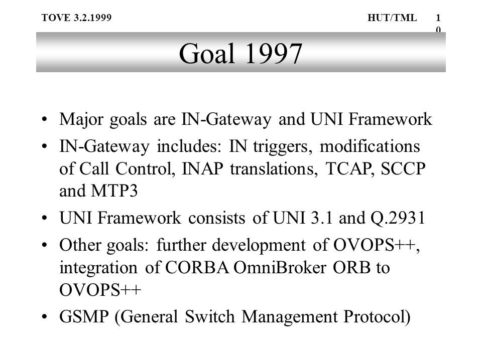 TOVE 3.2.1999HUT/TML10 Goal 1997 Major goals are IN-Gateway and UNI Framework IN-Gateway includes: IN triggers, modifications of Call Control, INAP translations, TCAP, SCCP and MTP3 UNI Framework consists of UNI 3.1 and Q.2931 Other goals: further development of OVOPS++, integration of CORBA OmniBroker ORB to OVOPS++ GSMP (General Switch Management Protocol)