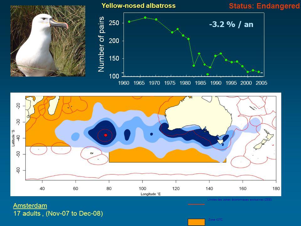 Amsterdam 17 adults, (Nov-07 to Dec-08) Limites des zones économiques exclusives (ZEE) Zone IOTC Yellow-nosed albatross -3.2 % / an 196019651970197519