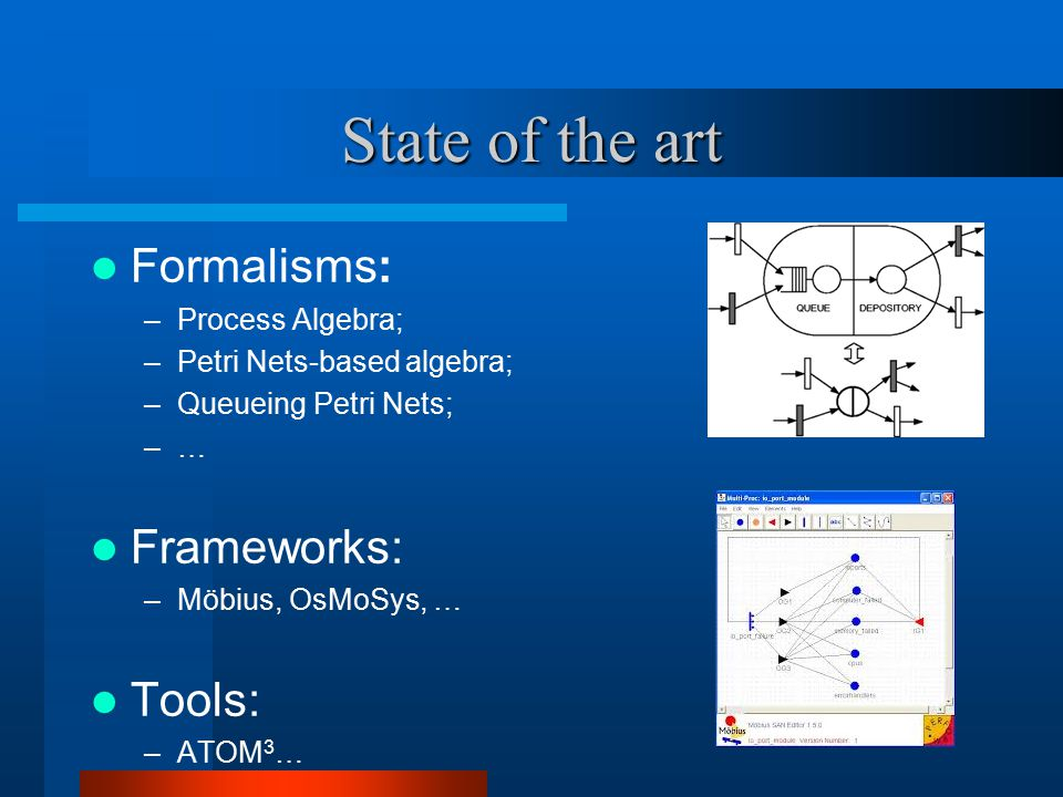 State of the art Formalisms: –Process Algebra; –Petri Nets-based algebra; –Queueing Petri Nets; –… Frameworks: –Möbius, OsMoSys, … Tools: –ATOM 3 …