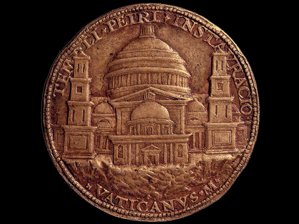 Cristoforo Foppa Caradosso. Bronze medal showing Bramante's design for St. Peter's. 1506