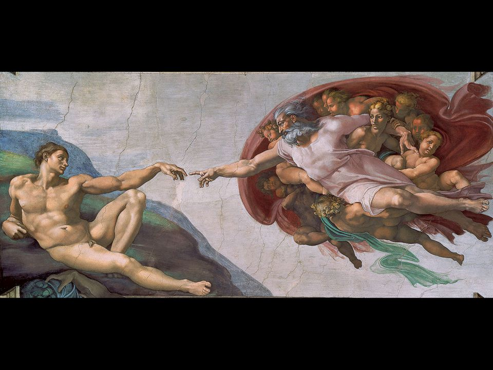Michelangelo. The Creation of Adam. Portion of the Sistine Chapel ceiling 1508–12