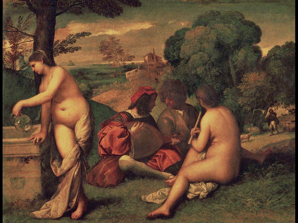 Giorgione (and Titian ). Fête Champêtre (Pastoral Concert). ca. 1509–10