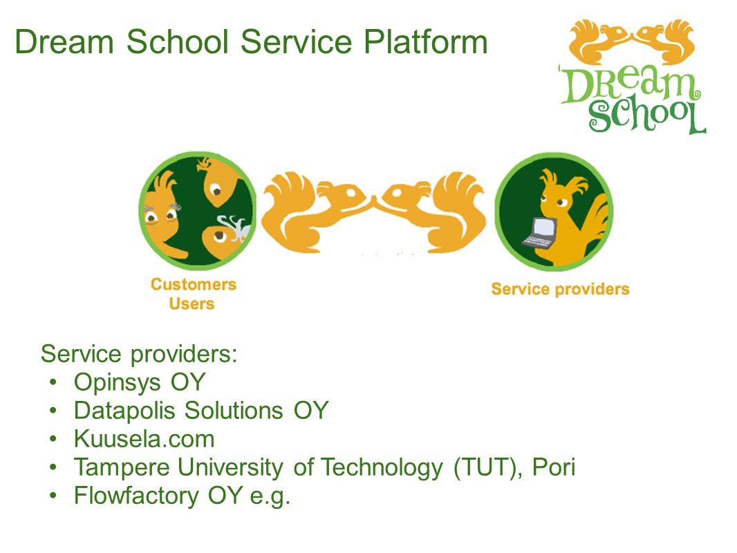 Dream School Service Platform Service providers: Opinsys OY Datapolis Solutions OY Kuusela.com Tampere University of Technology (TUT), Pori Flowfactory OY e.g.