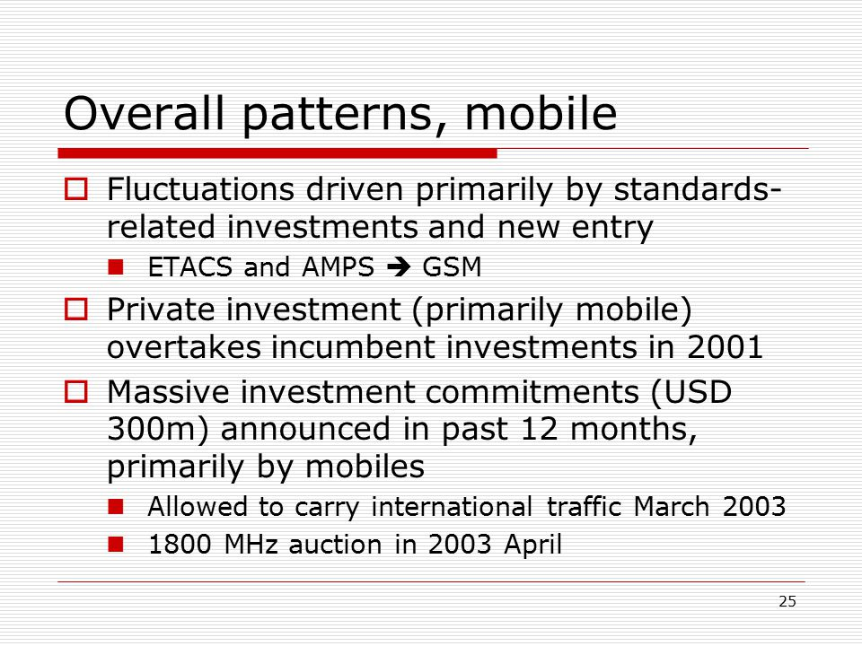 25 Overall patterns, mobile  Fluctuations driven primarily by standards- related investments and new entry ETACS and AMPS  GSM  Private investment (primarily mobile) overtakes incumbent investments in 2001  Massive investment commitments (USD 300m) announced in past 12 months, primarily by mobiles Allowed to carry international traffic March 2003 1800 MHz auction in 2003 April