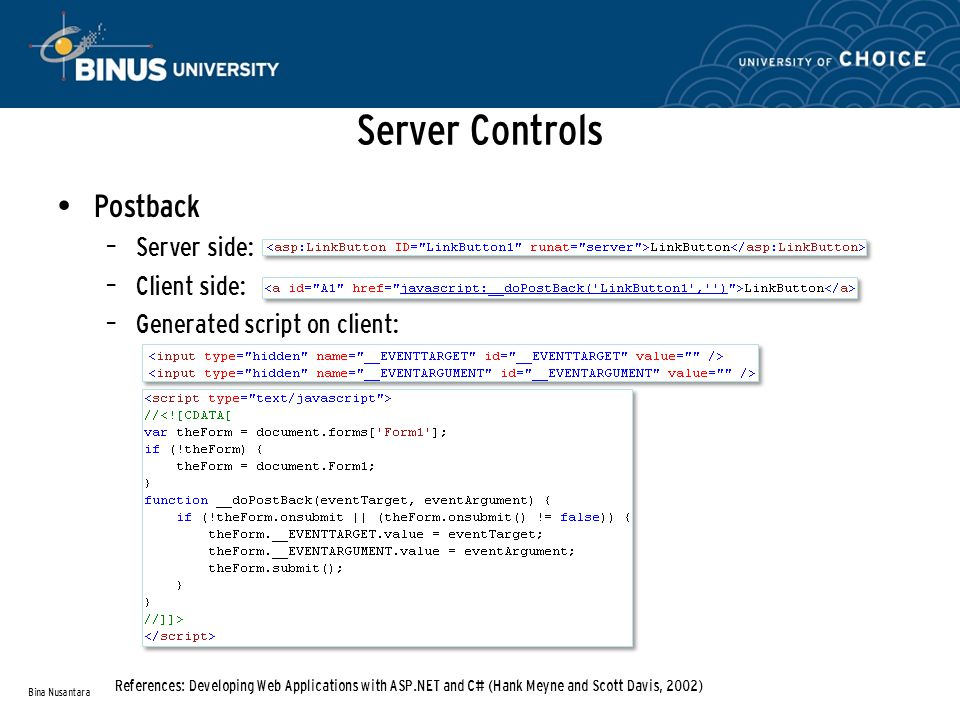 Server Controls Postback – Server side: – Client side: – Generated script on client: Bina Nusantara References: Developing Web Applications with ASP.NET and C# (Hank Meyne and Scott Davis, 2002)