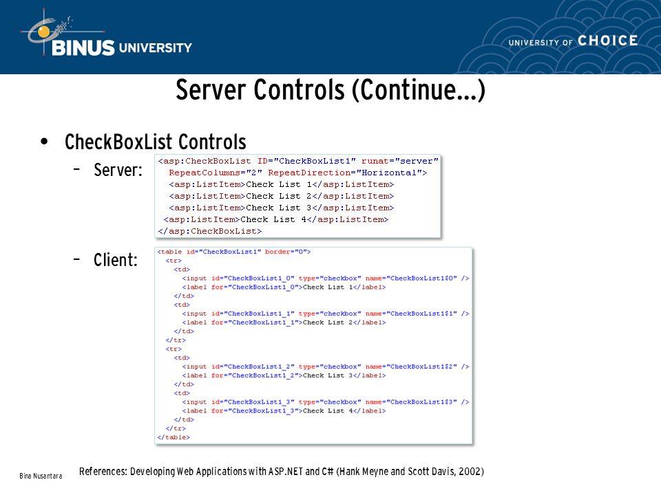 Server Controls (Continue…) CheckBoxList Controls – Server: – Client: Bina Nusantara References: Developing Web Applications with ASP.NET and C# (Hank Meyne and Scott Davis, 2002)