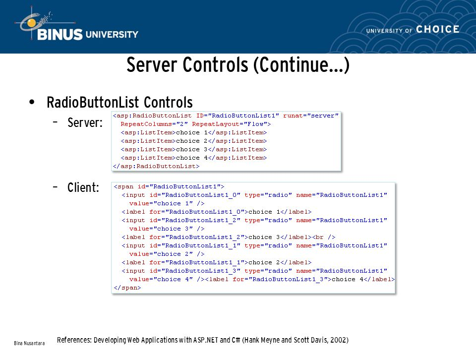 Server Controls (Continue…) RadioButtonList Controls – Server: – Client: Bina Nusantara References: Developing Web Applications with ASP.NET and C# (Hank Meyne and Scott Davis, 2002)
