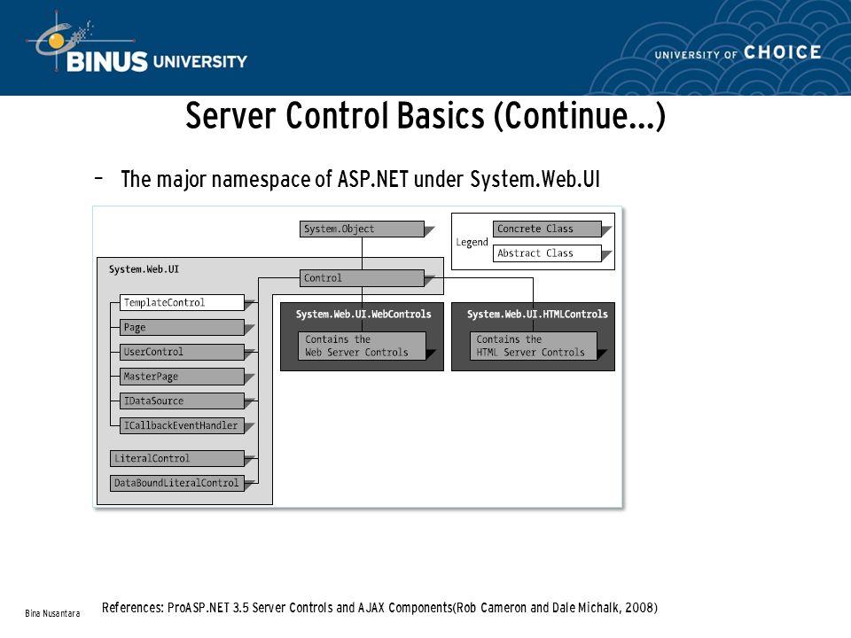 Server Control Basics (Continue…) – The major namespace of ASP.NET under System.Web.UI Bina Nusantara References: ProASP.NET 3.5 Server Controls and AJAX Components(Rob Cameron and Dale Michalk, 2008)