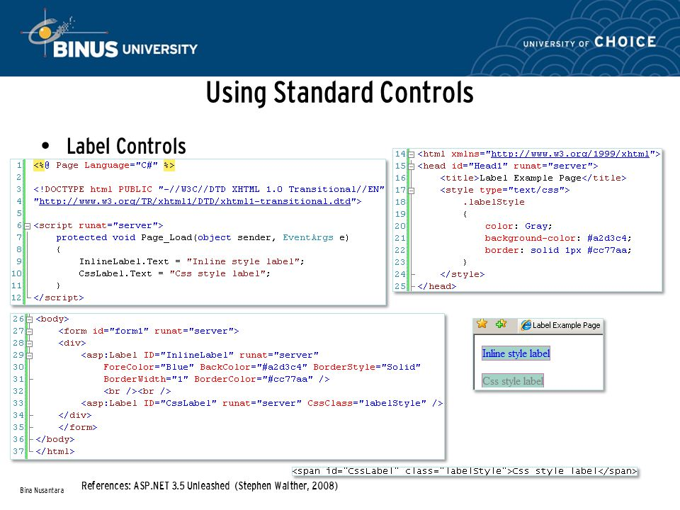 Using Standard Controls Label Controls Bina Nusantara References: ASP.NET 3.5 Unleashed (Stephen Walther, 2008)