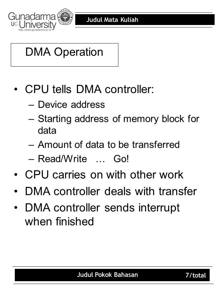 Judul Mata Kuliah Judul Pokok Bahasan 7/total DMA Operation CPU tells DMA controller: –Device address –Starting address of memory block for data –Amou