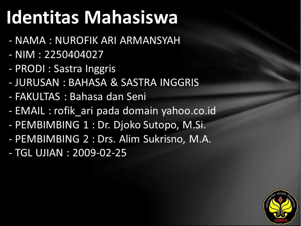 Identitas Mahasiswa - NAMA : NUROFIK ARI ARMANSYAH - NIM : 2250404027 - PRODI : Sastra Inggris - JURUSAN : BAHASA & SASTRA INGGRIS - FAKULTAS : Bahasa dan Seni - EMAIL : rofik_ari pada domain yahoo.co.id - PEMBIMBING 1 : Dr.