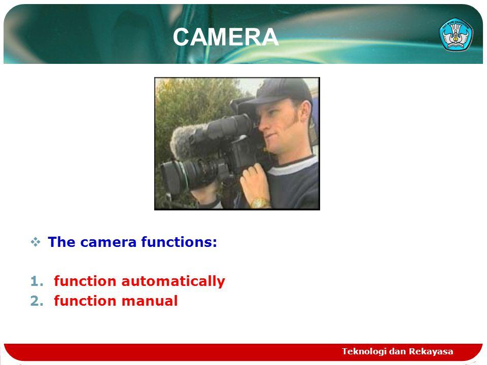 Teknologi dan Rekayasa CAMERA  The camera functions: 1.function automatically 2.function manual