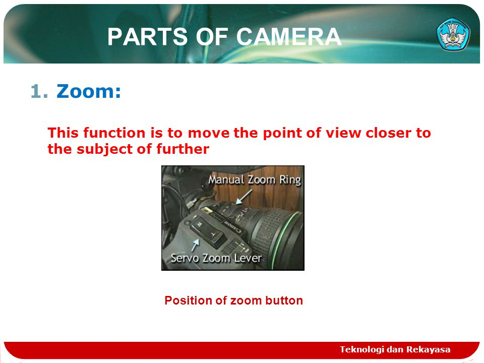 PARTS OF CAMERA 1.Zoom: This function is to move the point of view closer to the subject of further Teknologi dan Rekayasa Position of zoom button