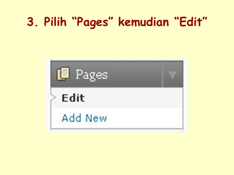 3. Pilih Pages kemudian Edit