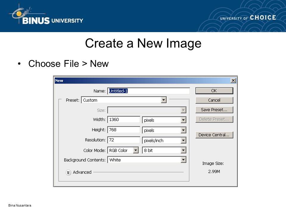 Bina Nusantara Create a New Image Choose File > New