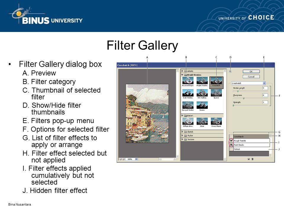 Bina Nusantara Filter Gallery Filter Gallery dialog box A. Preview B. Filter category C. Thumbnail of selected filter D. Show/Hide filter thumbnails E