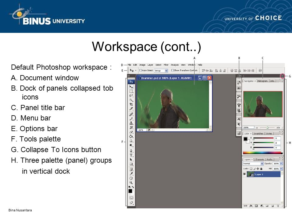 Bina Nusantara Workspace (cont..) Default Photoshop workspace : A. Document window B. Dock of panels collapsed tob icons C. Panel title bar D. Menu ba