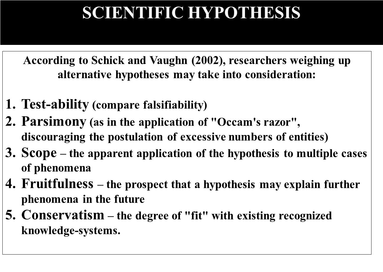 SCIENTIFIC HYPOTHESIS According to Schick and Vaughn (2002), researchers weighing up alternative hypotheses may take into consideration: 1.Test-ability (compare falsifiability) 2.Parsimony (as in the application of Occam s razor , discouraging the postulation of excessive numbers of entities) 3.Scope – the apparent application of the hypothesis to multiple cases of phenomena 4.Fruitfulness – the prospect that a hypothesis may explain further phenomena in the future 5.Conservatism – the degree of fit with existing recognized knowledge-systems.