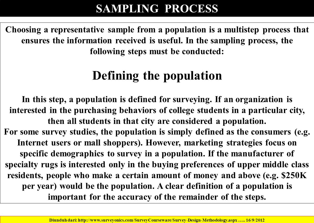 SAMPLING PROCESS Diunduh dari: http://www.surveyonics.com/SurveyCourseware/Survey-Design-Methodology.aspx …..