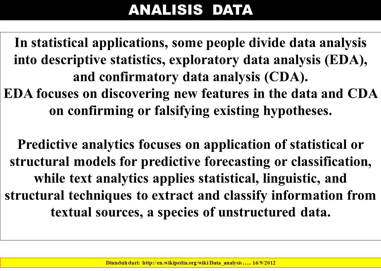 ANALISIS DATA Diunduh dari: http://en.wikipedia.org/wiki/Data_analysis …..