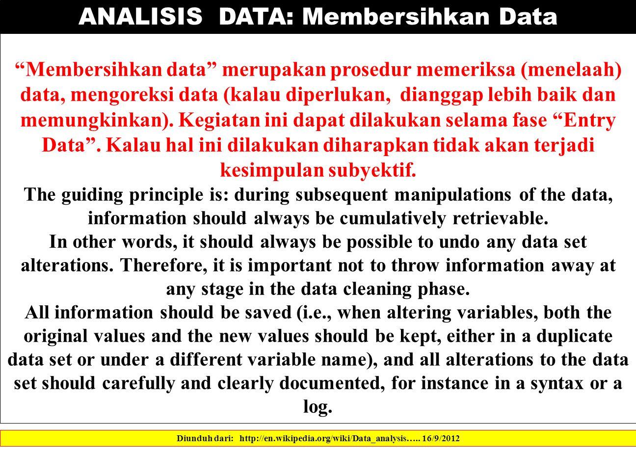 ANALISIS DATA: Membersihkan Data Diunduh dari: http://en.wikipedia.org/wiki/Data_analysis…..