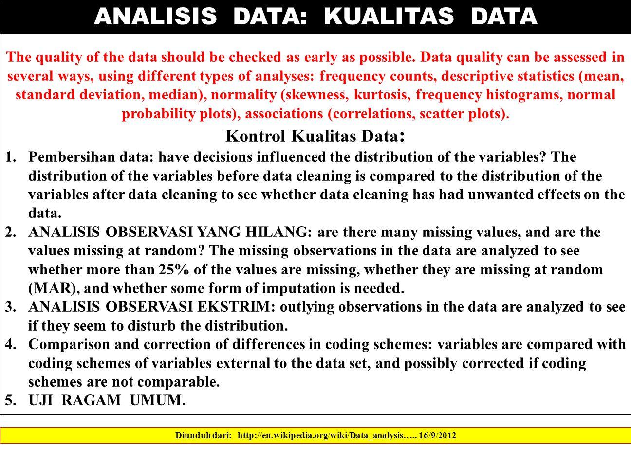 ANALISIS DATA: KUALITAS DATA Diunduh dari: http://en.wikipedia.org/wiki/Data_analysis…..