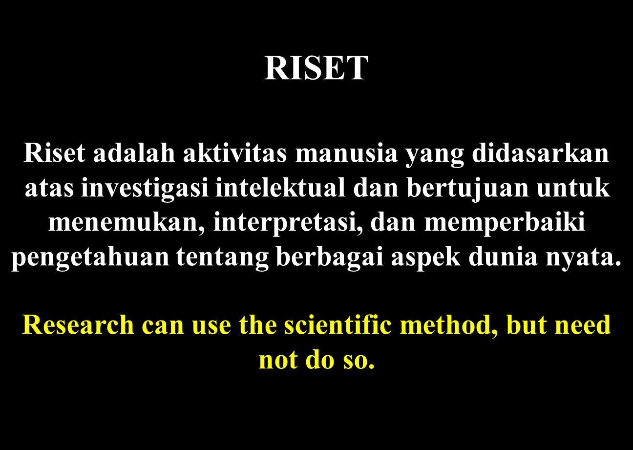 RISET Riset adalah aktivitas manusia yang didasarkan atas investigasi intelektual dan bertujuan untuk menemukan, interpretasi, dan memperbaiki pengetahuan tentang berbagai aspek dunia nyata.