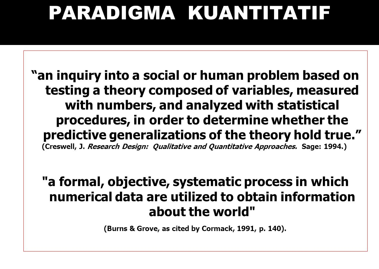 PARADIGMA KUANTITATIF an inquiry into a social or human problem based on testing a theory composed of variables, measured with numbers, and analyzed with statistical procedures, in order to determine whether the predictive generalizations of the theory hold true. (Creswell, J.