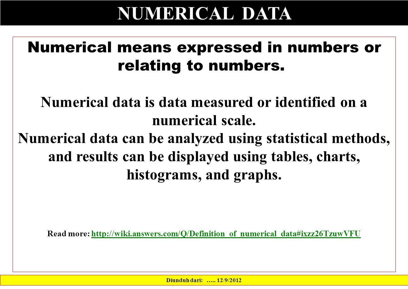NUMERICAL DATA Diunduh dari: …..