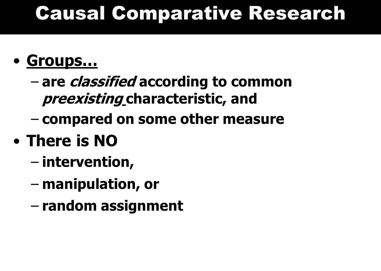 Causal Comparative Research Groups… –are classified according to common preexisting characteristic, and –compared on some other measure There is NO –intervention, –manipulation, or –random assignment
