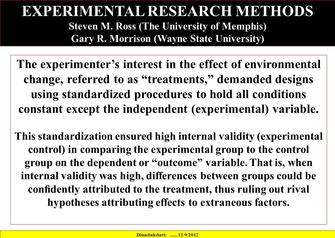 Diunduh dari: ….. 12/9/2012 EXPERIMENTAL RESEARCH METHODS Steven M.