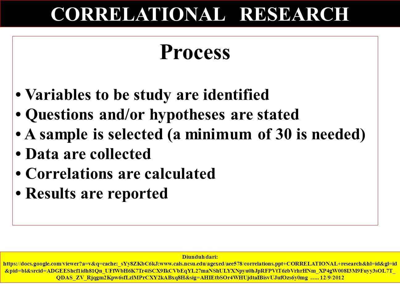 Diunduh dari: https://docs.google.com/viewer?a=v&q=cache:_sYy8ZKbC6kJ:www.cals.ncsu.edu/agexed/aee578/correlations.ppt+CORRELATIONAL+research&hl=id&gl=id &pid=bl&srcid=ADGEEShcf1idh81Qn_UFfWbH6K7Tr4iSCX9IkCVbEqYL27maNShULYXNpyu0hJpRFPVtT6zbVrhrHNm_XP4gW008I3M9Fuyy3sOL7T_ QDAS_ZV_Rjqgm2Kpw6sfLzlMPrCXY2kABxq8H&sig=AHIEtbSOr4WHUjdtaIBisvUJufOzs6y0mg …..