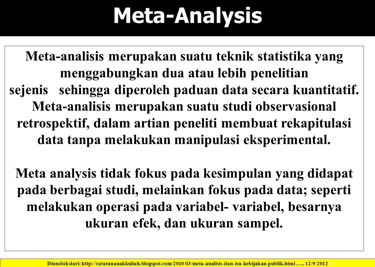Meta-Analysis Meta-analisis merupakan suatu teknik statistika yang menggabungkan dua atau lebih penelitian sejenis sehingga diperoleh paduan data secara kuantitatif.