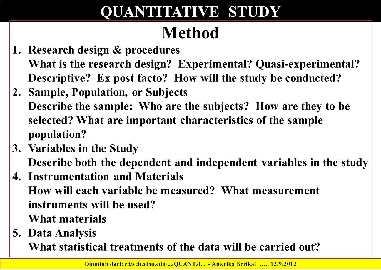QUANTITATIVE STUDY Diunduh dari: edweb.sdsu.edu/.../QUANT.d...