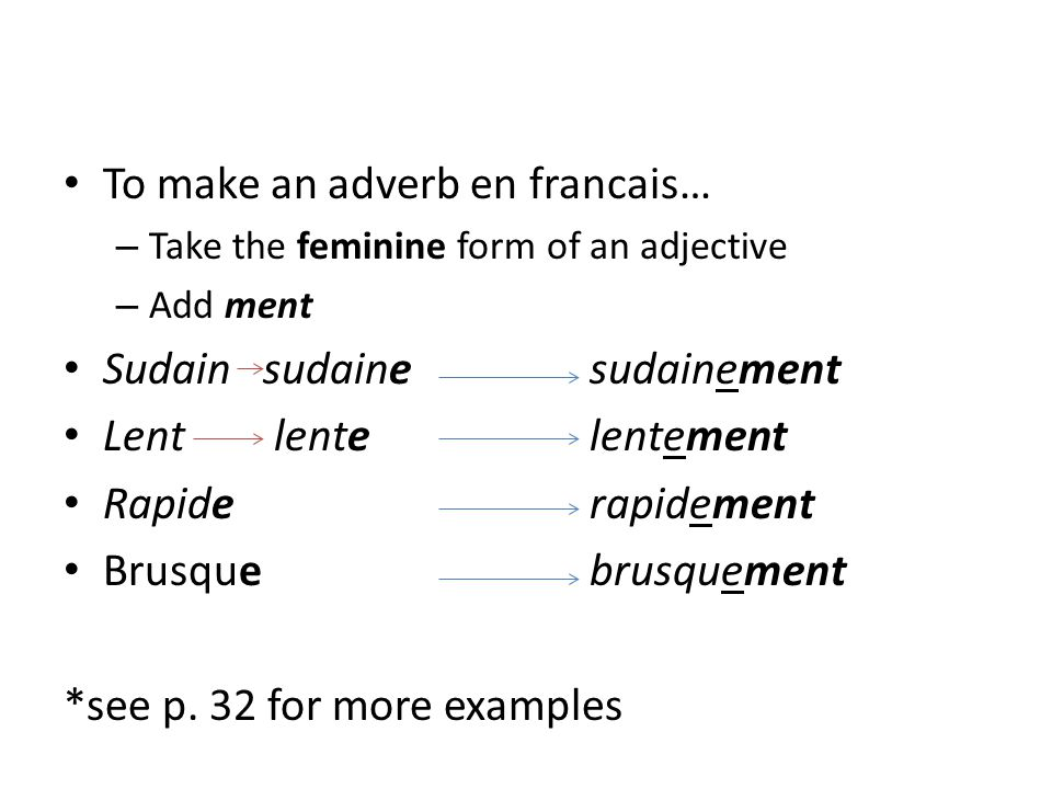 To make an adverb en francais… – Take the feminine form of an adjective – Add ment Sudain sudainesudainement Lentlentelentement Rapiderapidement Brusq