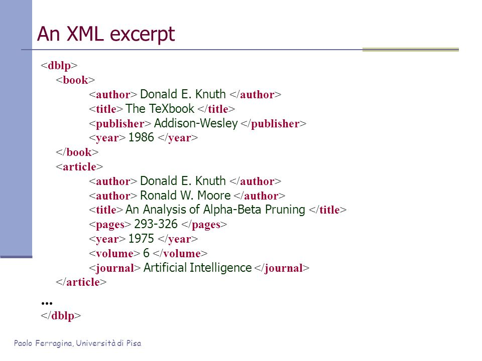 Paolo Ferragina, Università di Pisa An XML excerpt Donald E. Knuth The TeXbook Addison-Wesley 1986 Donald E. Knuth Ronald W. Moore An Analysis of Alph