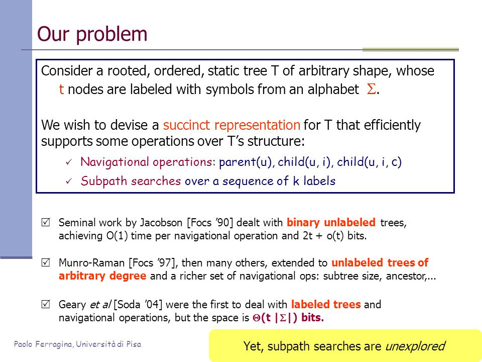 Paolo Ferragina, Università di Pisa Our problem Consider a rooted, ordered, static tree T of arbitrary shape, whose t nodes are labeled with symbols f