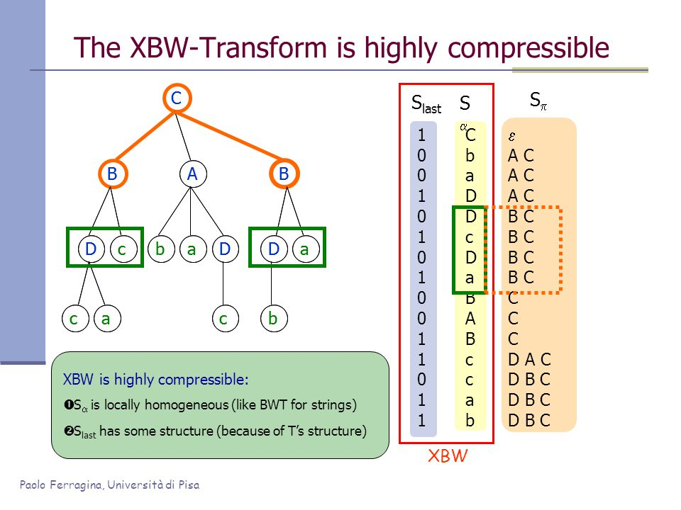 Paolo Ferragina, Università di Pisa 100101010011011100101010011011 The XBW-Transform is highly compressible CbaDDcDaBABccabCbaDDcDaBABccab SS  A C B C C D A C D B C SS S last XBW XBW is highly compressible:  S  is locally homogeneous (like BWT for strings)  S last has some structure (because of T's structure) C BAB Dc ca baD c Da b C BAB Dc ca baD c Da b