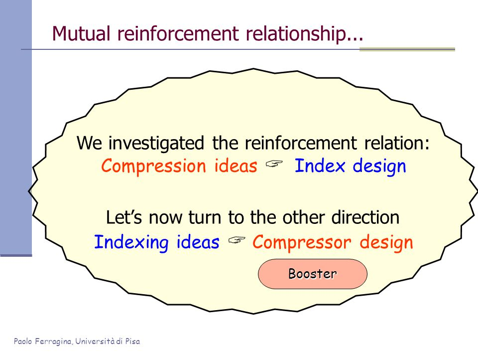 Paolo Ferragina, Università di Pisa We investigated the reinforcement relation: Compression ideas  Index design Let's now turn to the other direction Indexing ideas  Compressor design Mutual reinforcement relationship...