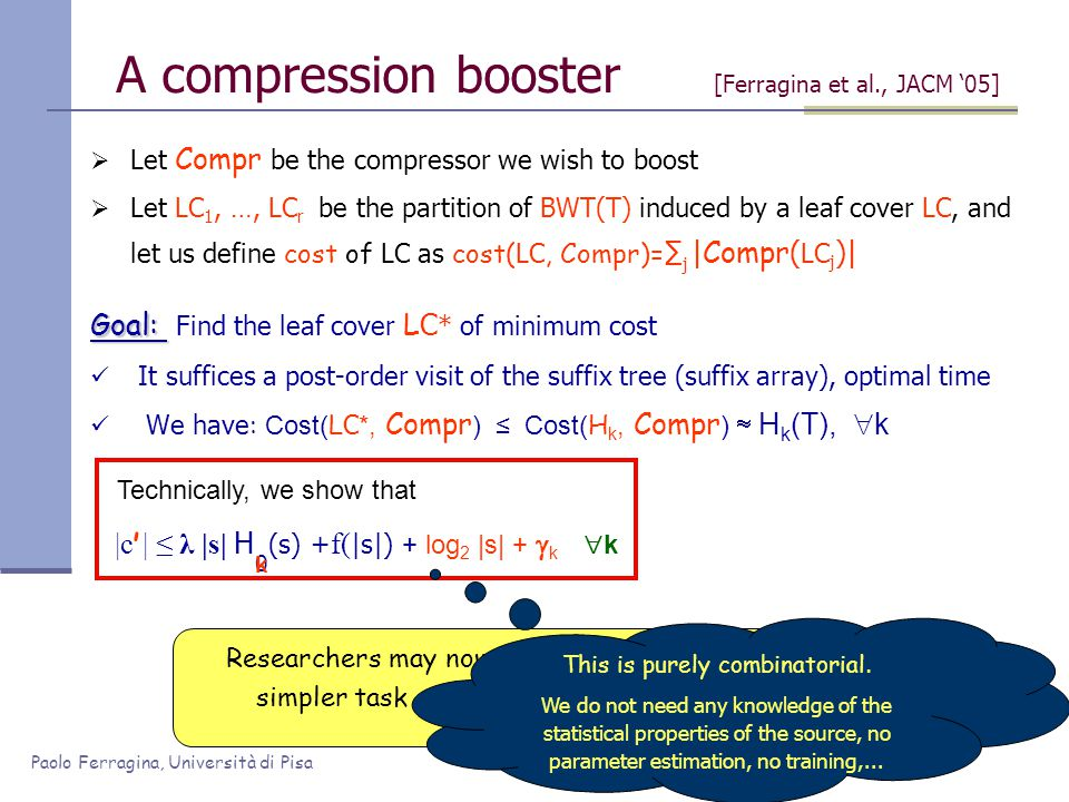 Paolo Ferragina, Università di Pisa  Let Compr be the compressor we wish to boost  Let LC 1, …, LC r be the partition of BWT(T) induced by a leaf co